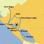 Karte Nicaragua Höhepunkte, 8 Tage